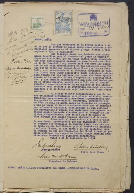 Cesión terrenos y deporte para jovenes 1934